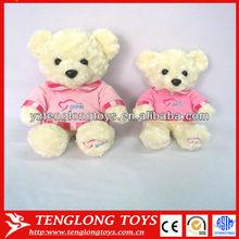 Wholesale cute and stuffed White Bear plush Teddy Bear with T shirt