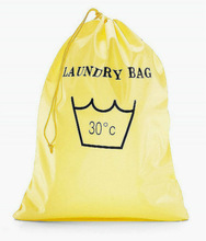 yellow polyester drawstring laundry bag