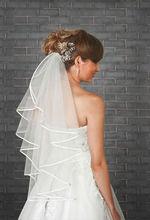 1 Tier Ivory Wedding Bridal Elbow Satin Edge Veil