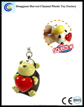 Promotional cartoon PVC keychain for kids, reflective PVC squeeze keychain for wholesale