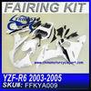 For Yamaha fairing manufacturers R6 2003-2005 WHITE SILVER FFKYA009