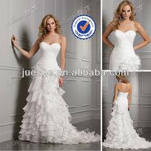 A-line Sweetheart Bodice Cascading Ruffles Organza Simple Bride Outdoor Wedding Dress