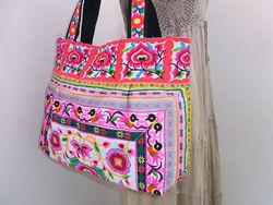 Hmong Handbag Pink Flowers Tote Bag Hill Tribe Thailand Fair Trade Handmade