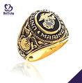 generoso ci anello marines con placcatura in oro militare per fan