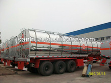 37000 Litres 3 Axles Stainless Steel Oil Transport Tanker Trailer For Sale