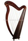 Musical Instrument 31 Strings Round Back Wood Harp