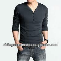 New Men's V Neck Slim T Shirt Fashion Long