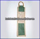 Jute and Cotton single Bottle Wine Tote bag
