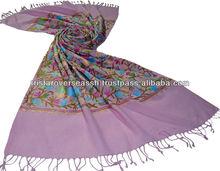 el bordado de cachemira de lana chales de pashmina