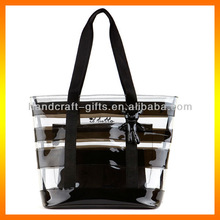 plastic clear beach tote bag/waterproof beach bag