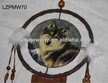 wood framed wolf style dream catcher wall decor LZPMW70