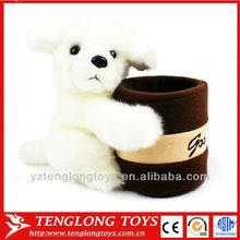plush white teddy bear pen holders for desk decoration