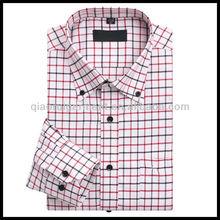 Men's Button Down Collar Red/Black Check Oxford Dress Shirt