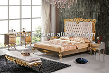 Gloden Silver double bed,European design wood bed set