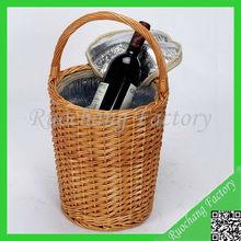 Elegant Top Quality Deluxe Handmade Willow Basket Wine Bottle Carriers, LZB-16