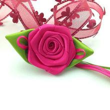 Handmade Polyester Rose Flower Rosette With Leaf 228-42