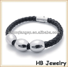 Wholesale Fashion High Quality Cross Bead Engraved Braided Wrap Leather Bracelets for Men and women