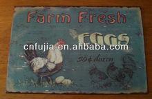 Granja huevos frescos vintage cartel de chapa metálica, Retro metal muestra, Metal carfts