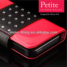 Petite Leather Wallet Swarovski for Apple iPhone 5/5S Cases / Cover