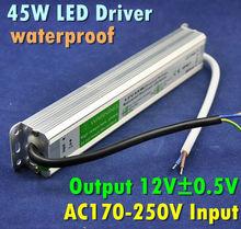Input AC90-250V Output 12V Max Power 45W Aluminum Waterproof LED Power Supply, LED Lighting Power Adapter