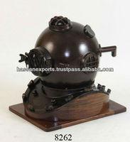 Nautical Divers Helmet Special edition with wooden base, antique diving helmets, divers helmet