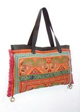 PONPONS Handbag Vintage Embroidered Cloth Hmong Bag Genuine Leather Strap