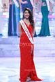 bo2613 el último estilo de miss mundo rojo 2013 desfile vestido de encaje de tamaño personalizado vaina raja lado formal vestido de noche