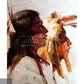 Handpainted indian tribal pintura em tela, o retrato de duas nativos americanos