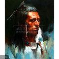 Pintadas à mão indiana antiga pintura óleo sobre tela, retrato de uma nativa americana(1)
