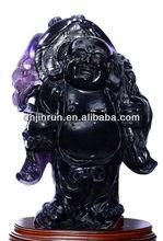 420 mm natural purple fluorite laughing Buddha Buddha maitreya statue a bigger place