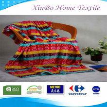 Plain dyed full print coral fleece blanket OEM brand