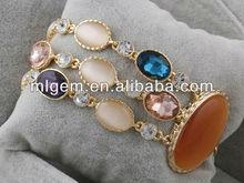 SL-1246 Free Shipping Opal Stone With Blue Glass Stone Fashion CZ Bracelet