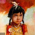 Pintadas à mão indiana antiga criança pintura óleo sobre tela, retrato de um pouco de native american girl da criança