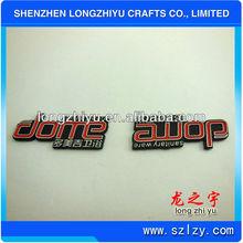 Aluminum metal iregular shape custom logo engraved number nameplate emblem/metal label plate emblem with 3M adhesive attachment