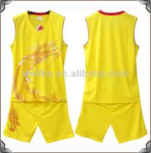 Yellow basketball shirt mens brand logo basketball wear uniform basketball shorts men