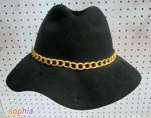 Ladies Brim 12CM Black Fedora Floppy Gold Chain Winter Hat Wholesale Factory Price