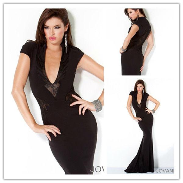 E0330 Sexy Sheath V Neck Short Sleeve Lace Long Engagement Prom Black Evening Dress 2013
