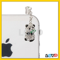 Fashion Panda Design Earphones Anti-dust 3.5mm Plug insert Ear Cap with Rhinestones for iPhone 4S / 4 / iPod / iPad