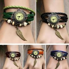 Weave Wrap Synthetic Leather Bracelet Lady Women's Wrist Watch