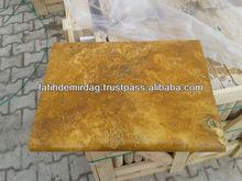 Yellow Travertine - Tumbled 457x610x50 mm - poolcoping/bullnose