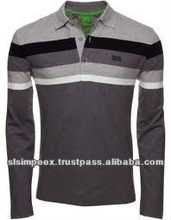 100% Cotton Polo Mens Long Sleeve Button Neck Premium Printed Striped Grey color T Shirts