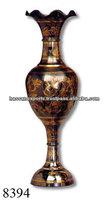 Brass Flower vase, antique brass vase, kashmiri color vase,