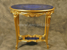 Lapis Lazuli with wooden golden console table tops