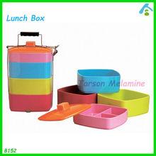 4 layers melamin bento box with steel handle , biodegradable bento box