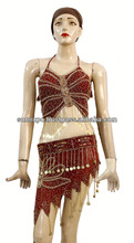 2pc Set: Ladies Exotic Belly Dance Sexy Sequins Beaded Top & Golden Coin Sheer Skirt - Multicolor
