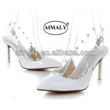 white wedding shoes fashion leather sandals for lady