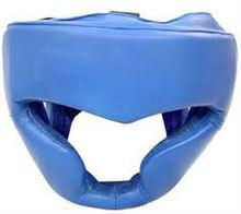 Leather or Foam Boxing Head Gear in Blue Leather or PU, Boxing Head Guard Leather or PU Blue