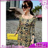 Latest Fashion Dresses Elegant Wrap Long Sleeve Lady Floral Print Dress Lady