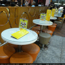 high end train station cafe stone tables and chairs