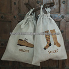 Hand embroidered beige linen shoes and socks bag